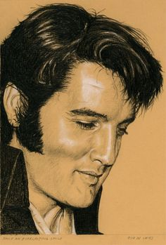 The Elvis Drawing for the first week in December. Smile an everlasting smile, Charcoal and White Chalk on Colored Paper. 15 x 21 cm. www.elvis-art.com