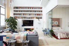 long built-in bookshelves in the living room