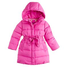 Love, Lilah Hot Coral Puffer Coat - Girls | Toddler girls