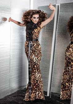 LOOK 10: animal print gown with flower petal decoration