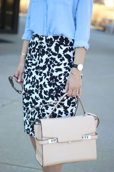 pencil skirt + classic button down