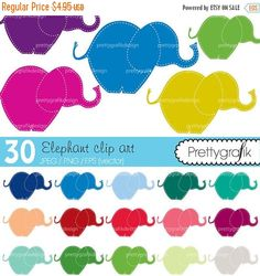 80% OFF SALE 30 elephant clipart commercial by Prettygrafikdesign