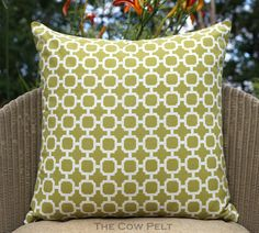 Handmade Indoor Outdoor Decorative Throw Pillow of Geometric Terrace Pattern Dark Lime Green White Fabric - Pillow Cover 20 x 20 by TheCowPelt