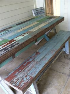 Rustic painted picnic table