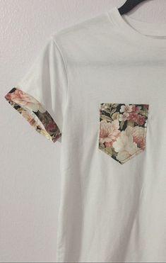Decorate a plain tee by adding a pocket in a fun pattern and a strip around the sleeve hem. #diyshirts #diyshirtssummer