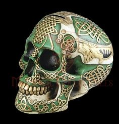 PG Trading 6411 in. Celtic Lion Skull, Green and Gold : PG Trading 6411 in. Celtic Lion Skull, Green and Gold Best Gifts For Men, Cool Gifts, Memento Mori, Celtic Green, Totenkopf Tattoos, Knot Tattoo, Sugar Skull Art, Sugar Skulls, Sugar Skull Decor