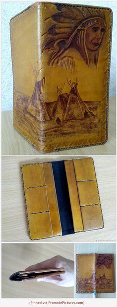 Вместительный мужской кошелёк из натуральной кожи, внутренняя отделка - замша. Имеются 2 отделения для купюр и 6 кармашков для карточек. Тиснение, пирография, прошивка и окрашивание выполнены вручную. DIY leather wallet with carving.