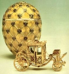 "Peter Carl Fabergé: ""Coronation Egg,"" which features the coach that Empress Alexandra rode into Moscow in 1897."