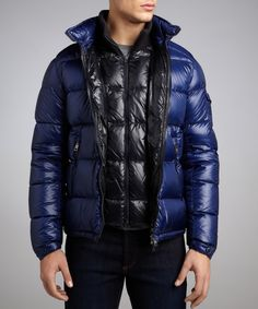 Moncler royal navy quilted woven down fill hooded coat | BLUEFLY up to 70% off designer brands