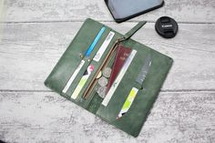 Leather Wallet Woman  Minimal wallet for by ValePLondonLeather