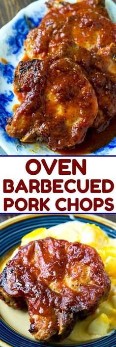 oven baked pork chops Easy Oven Barbecued Pork Chops are cooked in a tangy BBQ sauce that is lick your finger good! You get that delicious bbq flavor without ever turning on your g Barbecue Pork Chops, Sauce Barbecue, Pork Ribs, Bbq Baked Pork Chops, Barbecue Recipes, Grilling Recipes, Bbq Porkchops In Oven, Easy Pork Dinner Recipes, Oven Cooked Pork Chops