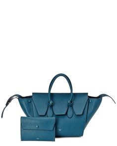 "CELINE ""Tie"" Leather Tote with Matching Clutch is on Rue. Shop it now."