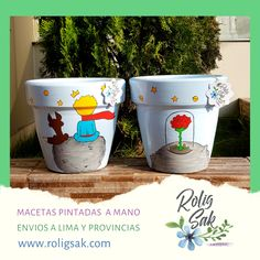 Painted Clay Pots, Painted Flower Pots, Bussines Ideas, Scrap Wood Projects, The Little Prince, Posca, Pottery Painting, Beautiful Bedrooms, Handmade Art
