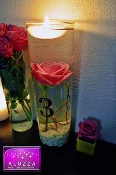Centro de mesa con velas flotantes y flores sumergidas aluzza centerpieces arreglos - Centros con velas ...