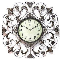 Infinity Instruments /Steel 26-inch Fleur de Lis Wall Clock