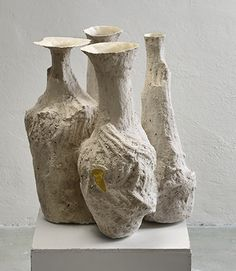 Johannes Nagel | (2) Vessels Cluster | 2015, Porcelain, Sand, Gold leaf | Unique | Germany http://www.galleryfumi.com/Works/Vases-and-Vessels/
