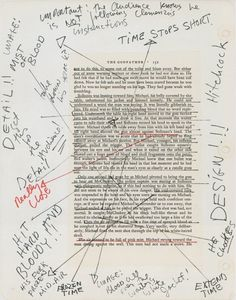 FRANCIS FORD COPPOLA, NOTES FOR THE GODFATHER: a page from coppola's copy of mario puzo's novel the godfather, annotated in preparation for the film.