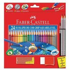 Lápis de Cor Faber Castell Aquarelável + 2 Ecolápis Grafite + 1 Pincel + 1 Apontador + 1 Borracha - 24 Cores