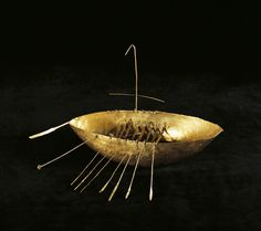 A History of Ireland in 100 Objects – 15.Broighter boat, c.100BC. …This delightful gold boat, just under 20cm long but rich in detail, is a rare thing in early Irish art: a realistic depiction of a real object…  Where to see it: National Museum of Ireland – Archaeology, Kildare Street, Dublin 2, 01-6777444, museum.ie
