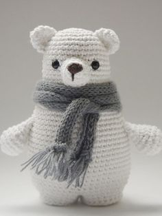 Crochet Patterns For Kids DIY-instruction: Crochet Amigurumi-polar bear with scarf, cuddly bear, Kuchelti … Crochet Eyes, Crochet Diy, Crochet Amigurumi, Crochet Bear, Amigurumi Patterns, Crochet Animals, Scarf Crochet, Baby Knitting Patterns, Crochet Patterns