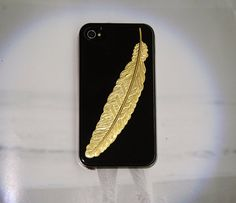 Gold feather iphone case, want/need