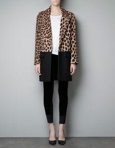 Leopard print & color block coat from zara... I think i might try and make my own version of this jacket!