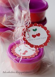 Cherry Playdough Valentine Recipe & Free Printable, so cute! - will be doing this for the twins classes this year!
