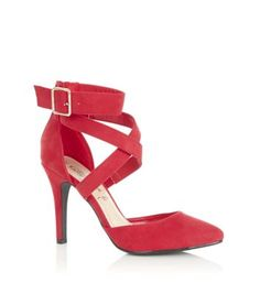 Put your best foot forward in these striking red court shoes. Great for dressing up super skinny jeans and a staple party piece for neutral midi dresses and pencil skirts. Cross strap design with bucklePointed toe and stiletto heel