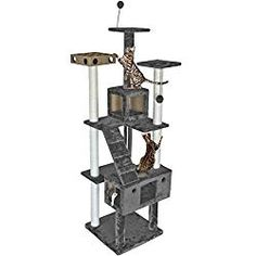 large cat tree house - Furhaven Tiger Tough Cat Tree House Furniture for Cats and Kittens, Double Decker Playground, Gray *** Check this awesome product by going to the link at the image. (This is an affiliate link) Cat Tree House, Cat Tree Condo, Cat Condo, Cool Cat Trees, Cool Cats, Pet Furniture, House Furniture, Modern Furniture, Large Cat Tree