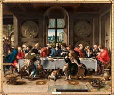 "Pieter Coecke van Aelst (Netherlandish, 1502-1550). Last Supper, 1527. The Duke and Duchess of Rutland Collection, Belvoir Castle, Grantham, England | This work is featured in ""Grand Design: Pieter Coecke van Aelst and Renaissance Tapestry,"" on view October 8, 2014–January 11, 2015. #Coecke #tapestrytuesday #granddesign"