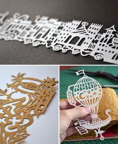 motif // circus train // hot air balloon // cut paper art // marcelo kato