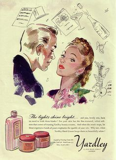 Charm and elegance collide in this lovely 1940s ad for Yardley hand cream (love her braided hairdo!).
