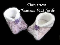 TUTO TRICOT CHAUSSON BEBE 3 CARRES AU TRICOT FACILE ET RAPIDE. Instructions écrites ici: ... Crochet For Kids, Crochet Baby, Knit Crochet, Knit Baby Booties, Baby Boots, Crochet Shoes, Knitting Videos, Baby Kind, Filet Crochet