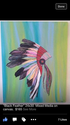 """""""Black Feather"""" Painting on canvas. SOLD. #headdress #feathers"""