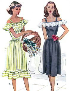 1940s Dress Pattern McCall 6853 Off Shoulder by paneenjerez, $30.00