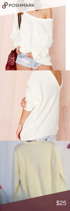 #102🦄🎃 Don't be afraid to drop it low in this ivory sweater. It features a deep V at back, drop shoulder detailing, and ribbing at neck, hem, and cuffs. Oversized fit, unlined. By Nasty Gal.  *Acrylic/Polyester/Nylon  *Runs true to size  *Machine wash cold  *Imported Nasty Gal Sweaters