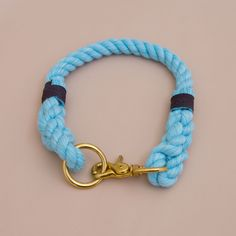 Classic Rope dog handmade collar - dog collar - Soft cotton rope collar -Hand made cotton rope collar - Aqua collar with the rope ends spliced then whipped with Lasso's original knots for durability.