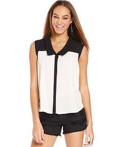 Ali & Kris Juniors Top, Sleeveless Colorblock Shirt - Juniors Tops - Macy's