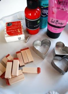 clay hearts with stamped words