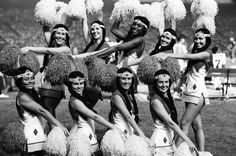 The Washington Redskins cheerleaders (aka - The Redskinettes) pose during a 1970 preaseason game against the Bills.