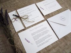 Beautiful, rustic wedding invitation stack with lavender motif and personalised stamp design. This would be the perfect stationery suite for a