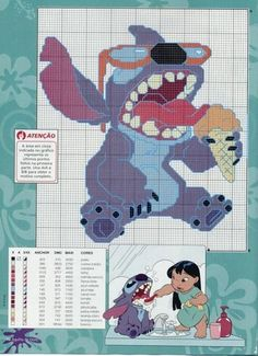Lilo e Stitch Disney Cross Stitch Patterns, Cross Stitch For Kids, Counted Cross Stitch Patterns, Cross Stitch Charts, Cross Stitch Designs, Cross Stitch Embroidery, Disney Stitch, Lilo Og Stitch, Tom E Jerry
