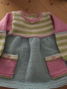 Pretty baby dress with stripes knit pattern by Tracy Wright, . : Pretty Baby Dress with Stripes Knitted Pattern by Tracy Wright, Baby Sweater Patterns, Baby Dress Patterns, Baby Knitting Patterns, Knitting Designs, Crochet Baby Dress Pattern, Knitting Projects, Knit Crochet, Girls Knitted Dress, Knit Baby Dress
