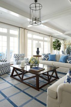 Coastal living room with fun and colorful patterns