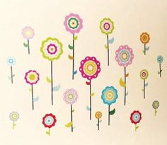 FLOWERS Childrens Wall Stickers for Girls Bedroom or Childrens Playroom, Babies Nursery (Kids Stickarounds): Amazon.co.uk: Kitchen & Home
