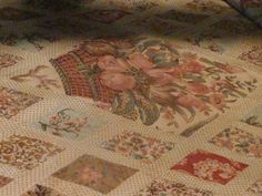 A closeup of Jane Austen's quilt that she made with her mother and sister, Cassandra.  On display at Jane's home, Chawton Cottage.  http://austenonly.com/2010/12/19/a-christmas-visit-to-jane-austens-house-part-2-upstairs/