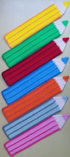 017F Marque-pages Crayon Patron de crochet. par LittleOwlsHutFR
