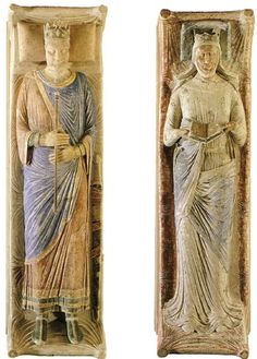 The effigies on the tombs of King Henry II of England & Eleanor of Aquitaine on their tombs at Fontevraud Abbey, France.