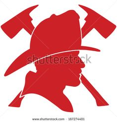 Firefighter head with helmet and two axes - stock vector Firefighter Symbol, Firefighter Crafts, Firefighter Decals, Quilting Templates, Stencil Templates, Stencils, Silhouette Clip Art, Silhouette Cameo Projects, Painted Jars