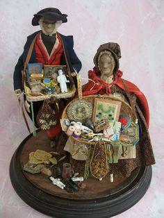Rare Pre 1850s Unique Peddler Dolls Wax Heads Original Costumes